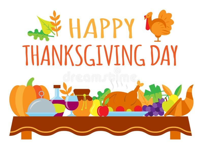 Ευτυχής κάρτα ημέρας των ευχαριστιών με το κείμενο χαιρετισμού ελεύθερη απεικόνιση δικαιώματος