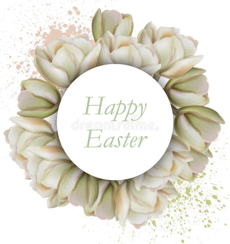 Ευτυχής κάρτα Πάσχας με το διάνυσμα λουλουδιών magnolia διανυσματική απεικόνιση