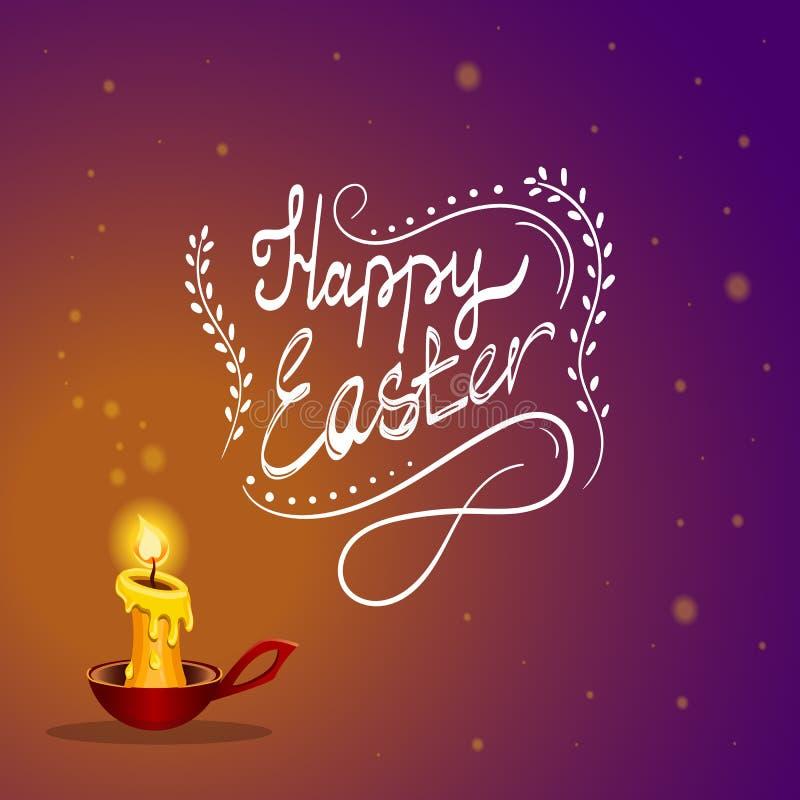 Ευτυχής κάρτα Πάσχας με το κάψιμο του κεριού απεικόνιση αποθεμάτων