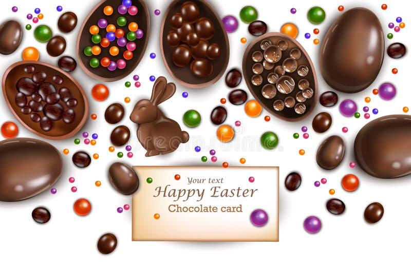 Ευτυχής κάρτα Πάσχας με το λαγουδάκι και τα αυγά σοκολάτας Διανυσματικές τρισδιάστατες ρεαλιστικές απεικονίσεις απεικόνιση αποθεμάτων