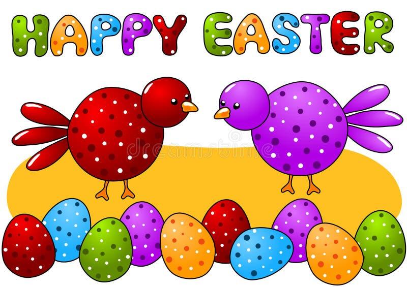 Ευτυχής κάρτα Πάσχας πουλιών και αυγών σημείων Πόλκα διανυσματική απεικόνιση