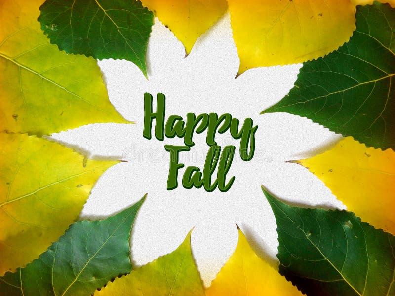 Ευτυχής κάρτα συγχαρητηρίων πτώσης με τα κίτρινα και πράσινα φύλλα στοκ εικόνα