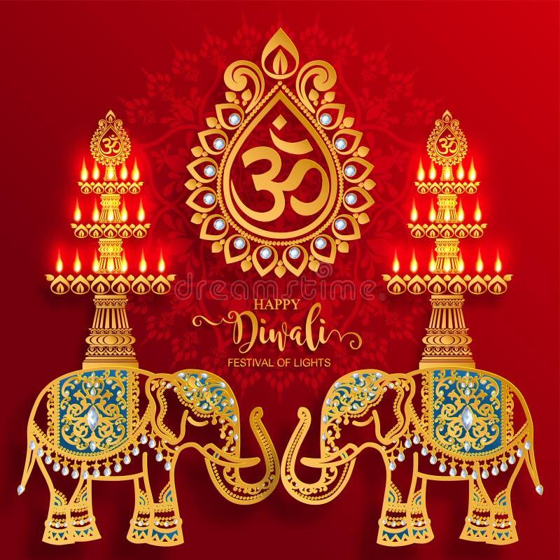 Ευτυχής κάρτα φεστιβάλ Diwali διανυσματική απεικόνιση