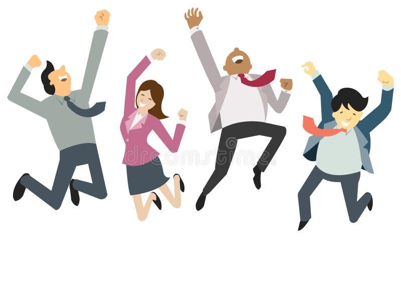 Ευτυχής και επιτυχία businesspeople απεικόνιση αποθεμάτων