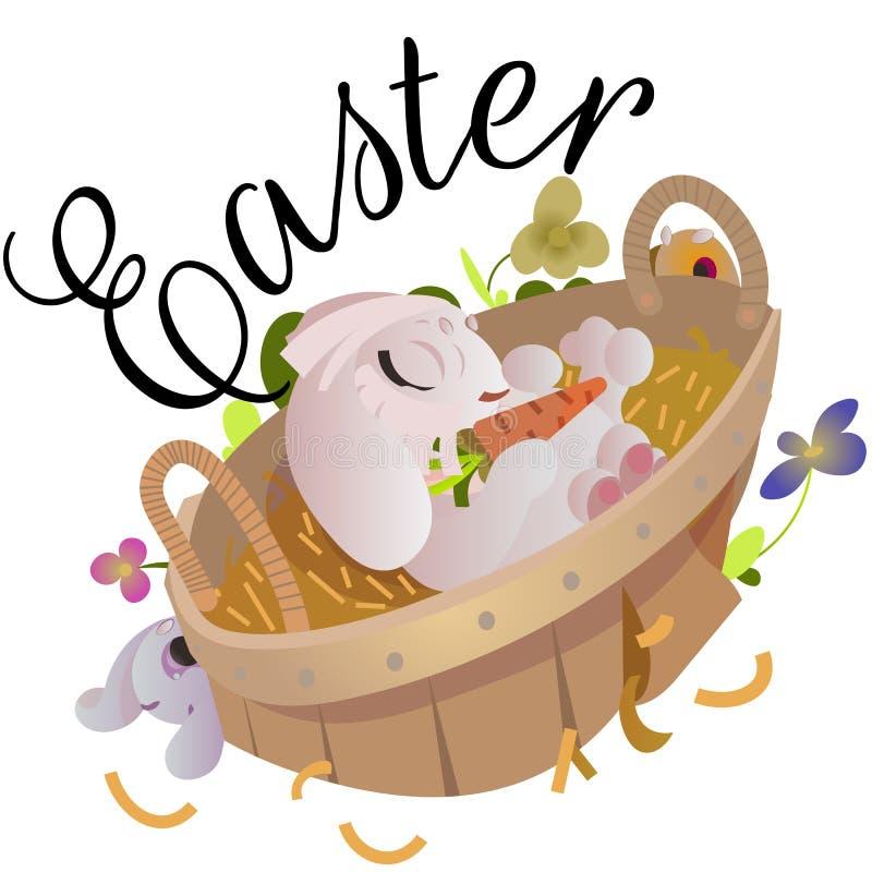 Ευτυχής και χαριτωμένη συνεδρίαση λαγουδάκι Πάσχας στο καλάθι με τα διακοσμημένα αυγά Πάσχας στην πράσινη χλόη, διανυσματική απει ελεύθερη απεικόνιση δικαιώματος