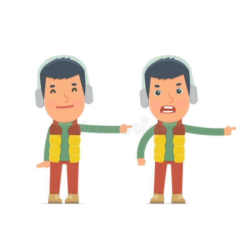 Ευτυχής και 0 χειμερινός πολίτης χαρακτήρα που παρουσιάζει ελεύθερη απεικόνιση δικαιώματος