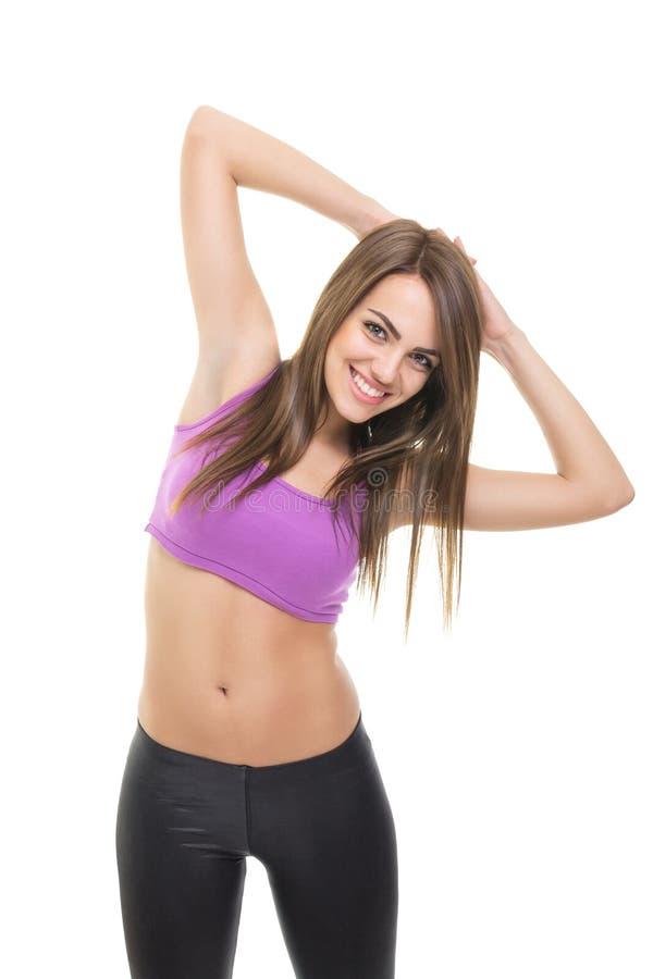 Ευτυχής κατάλληλη νέα ικανότητα γυναικών workout στοκ φωτογραφίες