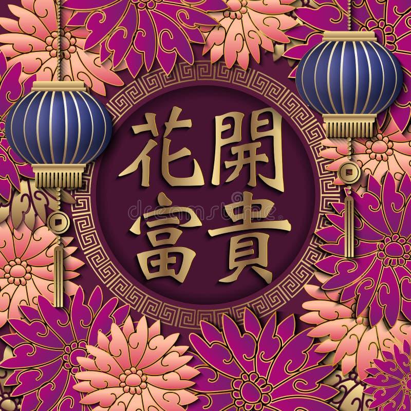 Ευτυχής κινεζική νέα αναδρομική χρυσή ανακούφιση έτους που ευλογεί τη λέξη πορφυρό pi διανυσματική απεικόνιση