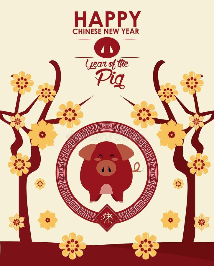 Ευτυχής κινεζική νέα κάρτα έτους διανυσματική απεικόνιση