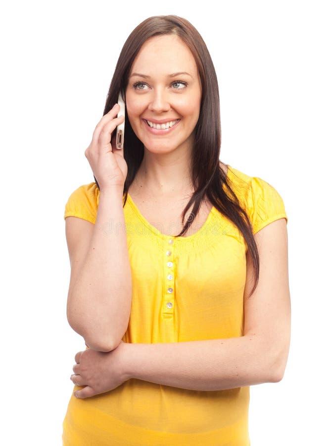 ευτυχής κινητή γυναίκα τη& στοκ εικόνες με δικαίωμα ελεύθερης χρήσης