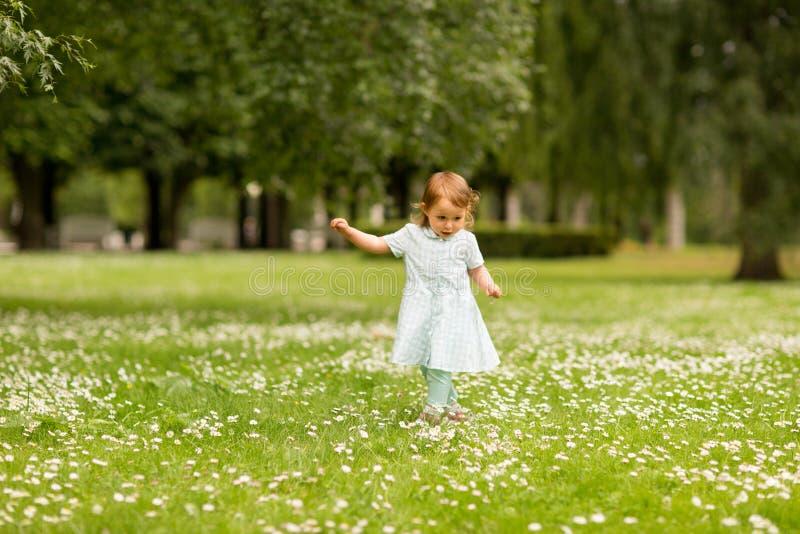 Ευτυχής λίγο κοριτσάκι στο πάρκο το καλοκαίρι στοκ εικόνες