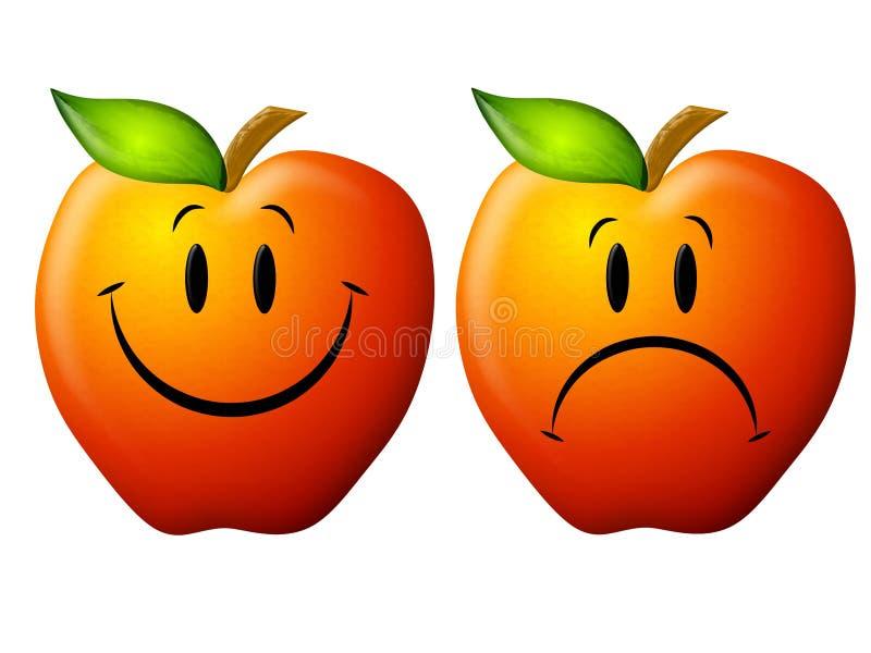 ευτυχής λυπημένος κινούμενων σχεδίων μήλων ελεύθερη απεικόνιση δικαιώματος