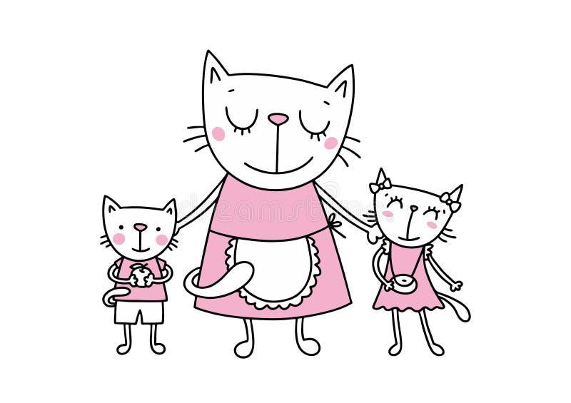 Ευτυχής μητέρα γατών με την κόρη και το γιο Επίπεδη διανυσματική ζωική κάρτα χαιρετισμών ημέρας της ευτυχούς μητέρας απεικόνιση αποθεμάτων