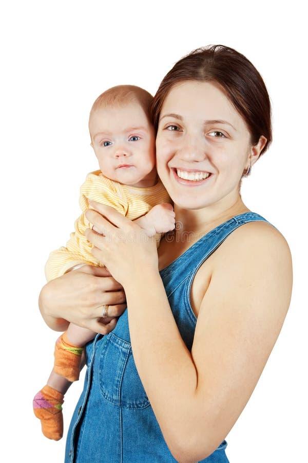 Ευτυχής μητέρα με το μωρό 3 μηνών στοκ εικόνες