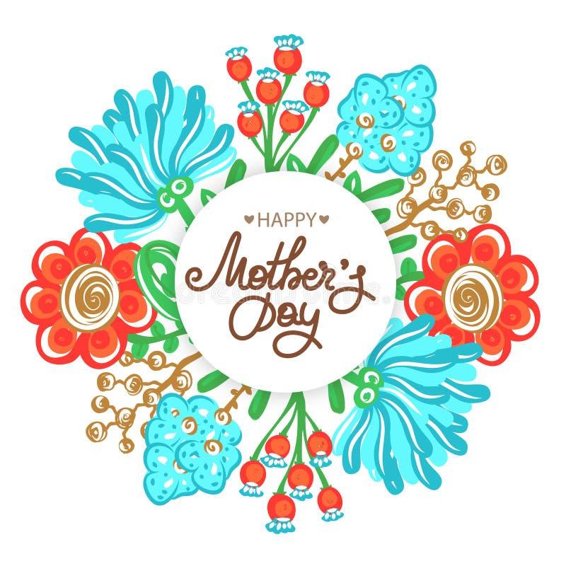 ευτυχής μητέρα s ημέρας Διακοπές του mom Εγγραφή με τη floral διακόσμηση Στρογγυλό πλαίσιο των λουλουδιών Εορτασμός γυναικών ` s ελεύθερη απεικόνιση δικαιώματος
