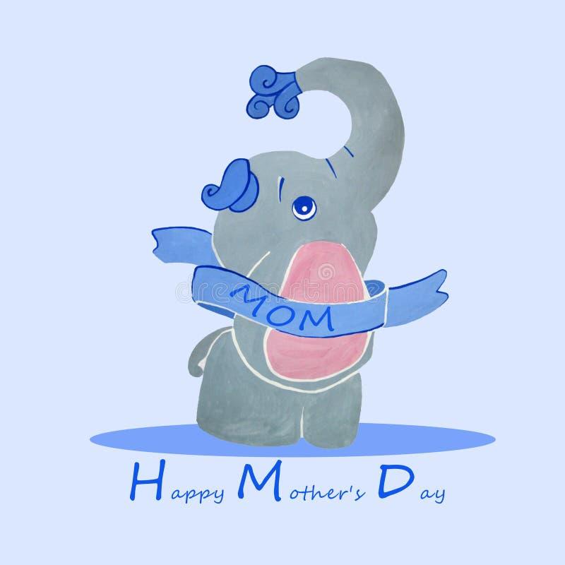 ευτυχής μητέρα s ημέρας Ευχετήρια κάρτα με έναν ελέφαντα ελεύθερη απεικόνιση δικαιώματος
