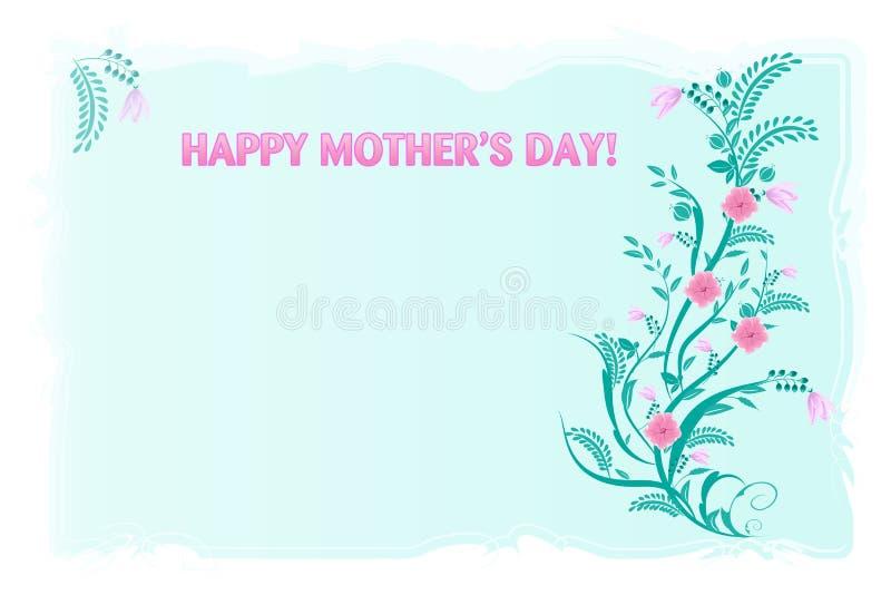 Ευτυχής μητέρων κάρτα χαιρετισμών ημέρας floral ελεύθερη απεικόνιση δικαιώματος