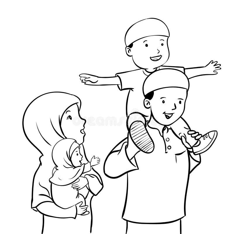 Ευτυχής μουσουλμανική οικογένεια-διανυσματική απεικόνιση απεικόνιση αποθεμάτων