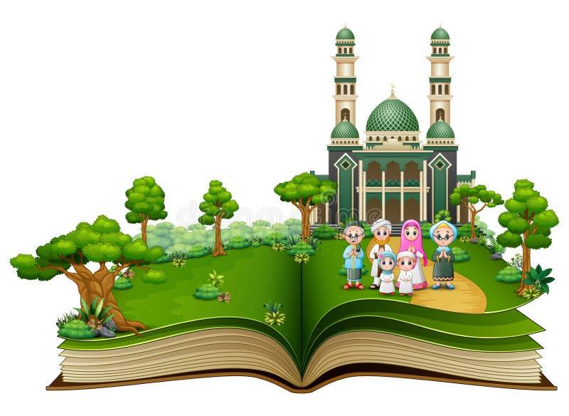 Ευτυχής μουσουλμανική οικογένεια στο μέτωπο το μουσουλμανικό τέμενος ενός ανοιγμένου βιβλίου ελεύθερη απεικόνιση δικαιώματος