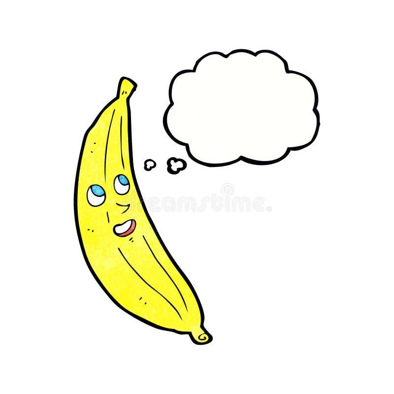 ευτυχής μπανάνα κινούμενων σχεδίων με τη σκεπτόμενη φυσαλίδα απεικόνιση αποθεμάτων