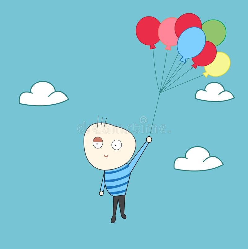 Ευτυχής μύγα παιδιών με τα μπαλόνια απεικόνιση αποθεμάτων