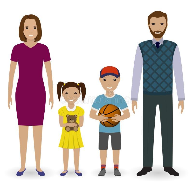 Ευτυχής νέα οικογένεια που στέκεται από κοινού Πατέρας, μητέρα, γιος με την καλαθοσφαίριση και κόρη με το παιχνίδι αρκούδων διανυσματική απεικόνιση