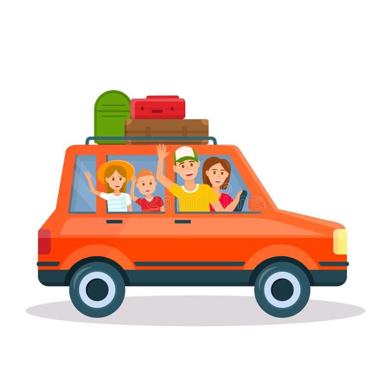 Ευτυχής νέα οικογένεια που ταξιδεύει με το κόκκινο αυτοκίνητο με τα παιδιά διανυσματική απεικόνιση