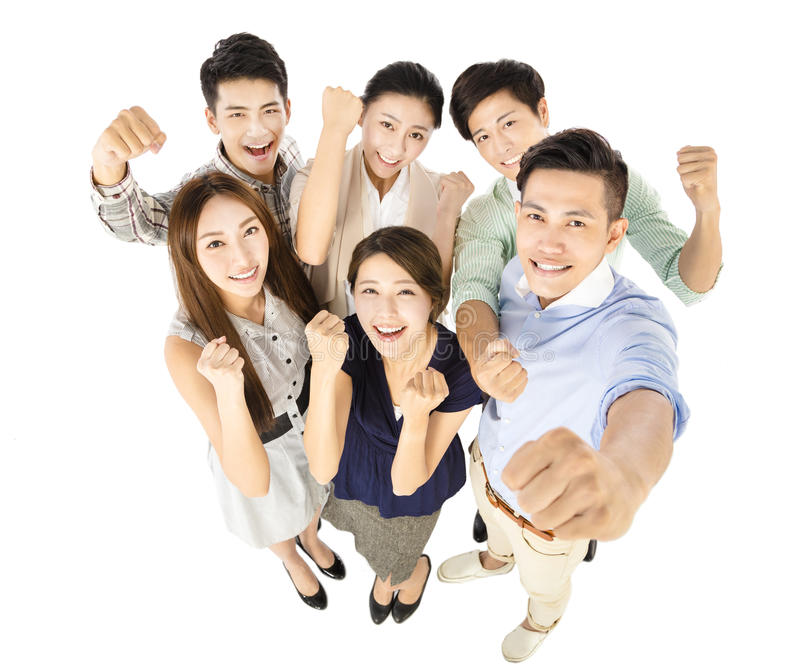Ευτυχής νέα χειρονομία επιχειρησιακών ομάδων επιτυχώς στοκ εικόνες