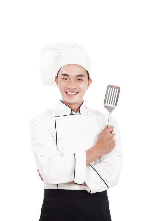 Ευτυχής νέος κινεζικός αρχιμάγειρας στοκ φωτογραφία με δικαίωμα ελεύθερης χρήσης