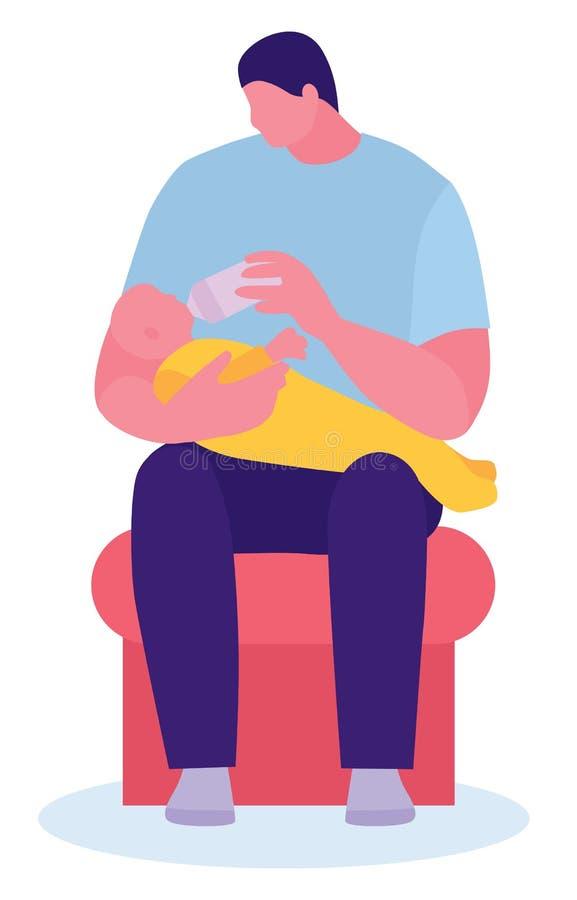 Ευτυχής νέος πατέρας που ταΐζει το νεογέννητο μωρό με το μπουκάλι γάλακτος στον καναπέ στο σπίτι Επίπεδη διανυσματική απεικόνιση  ελεύθερη απεικόνιση δικαιώματος