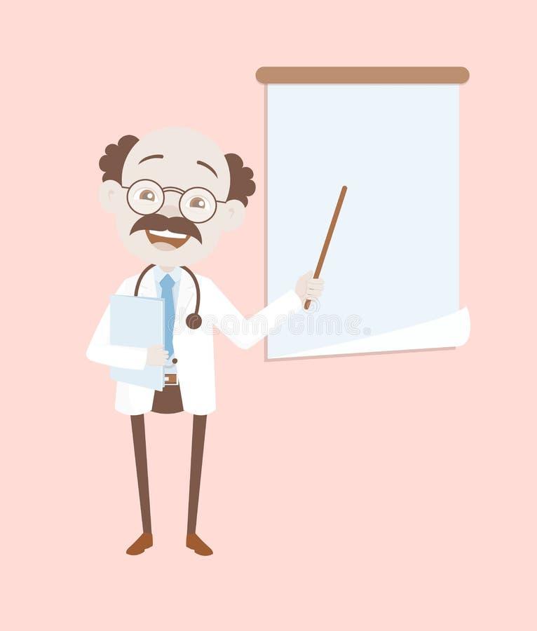 Ευτυχής νευρολόγος που παρουσιάζει στο διάνυσμα πινάκων παρουσίασης απεικόνιση αποθεμάτων