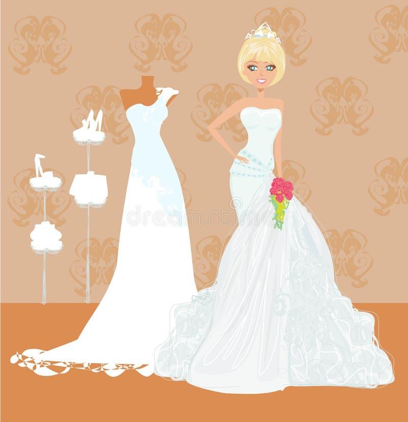 Ευτυχής νύφη στις αγορές ελεύθερη απεικόνιση δικαιώματος