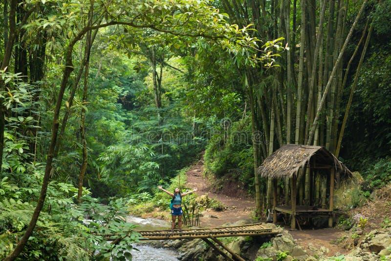 Ευτυχής οδοιπορία γυναικών τουριστών στη ζούγκλα του Μπαλί στοκ εικόνες με δικαίωμα ελεύθερης χρήσης