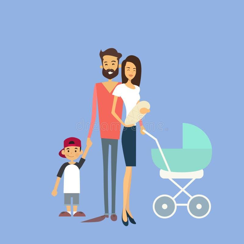 Ευτυχής οικογένεια, γονείς ζεύγους με δύο παιδιά, νεογέννητα ελεύθερη απεικόνιση δικαιώματος