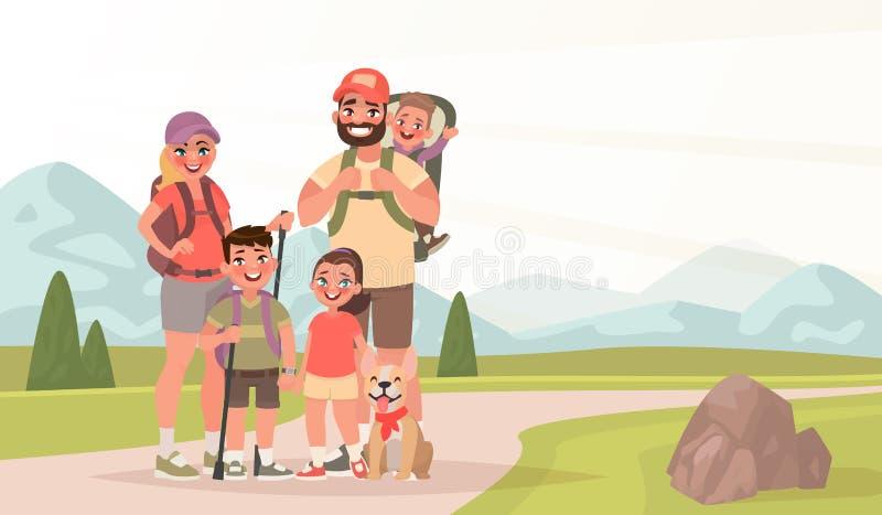 Ευτυχής οικογένεια και πεζοπορία Ο πατέρας, η μητέρα και τα παιδιά είναι traveli διανυσματική απεικόνιση