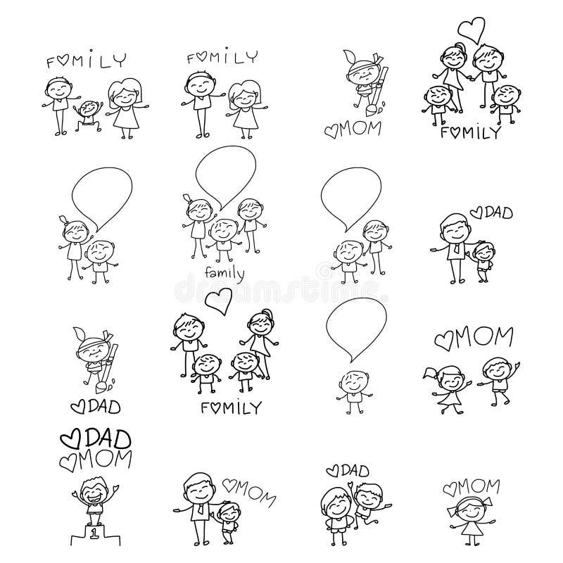 Ευτυχής οικογένεια κινούμενων σχεδίων σχεδίων χεριών ελεύθερη απεικόνιση δικαιώματος