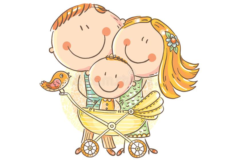 Ευτυχής οικογένεια με ένα μωρό σε μια μεταφορά μωρών διανυσματική απεικόνιση