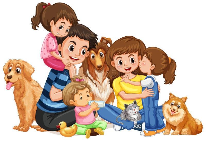 Ευτυχής οικογένεια με τέσσερα παιδιά και κατοικίδια ζώα διανυσματική απεικόνιση