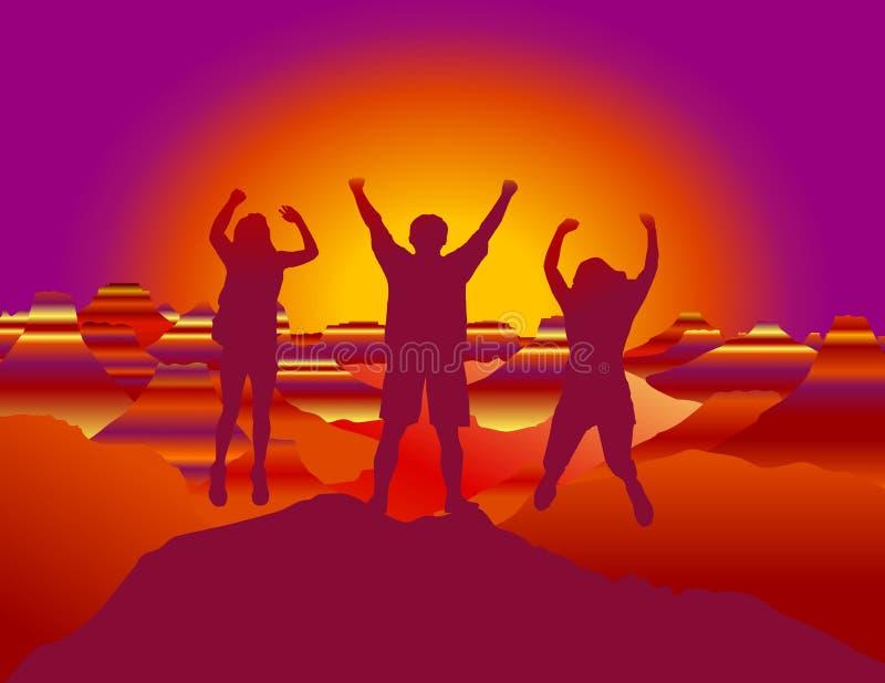Ευτυχής οικογένεια με τα χέρια επάνω που πηδούν και που έχουν τη διασκέδαση στην κορυφή του βουνού απεικόνιση αποθεμάτων