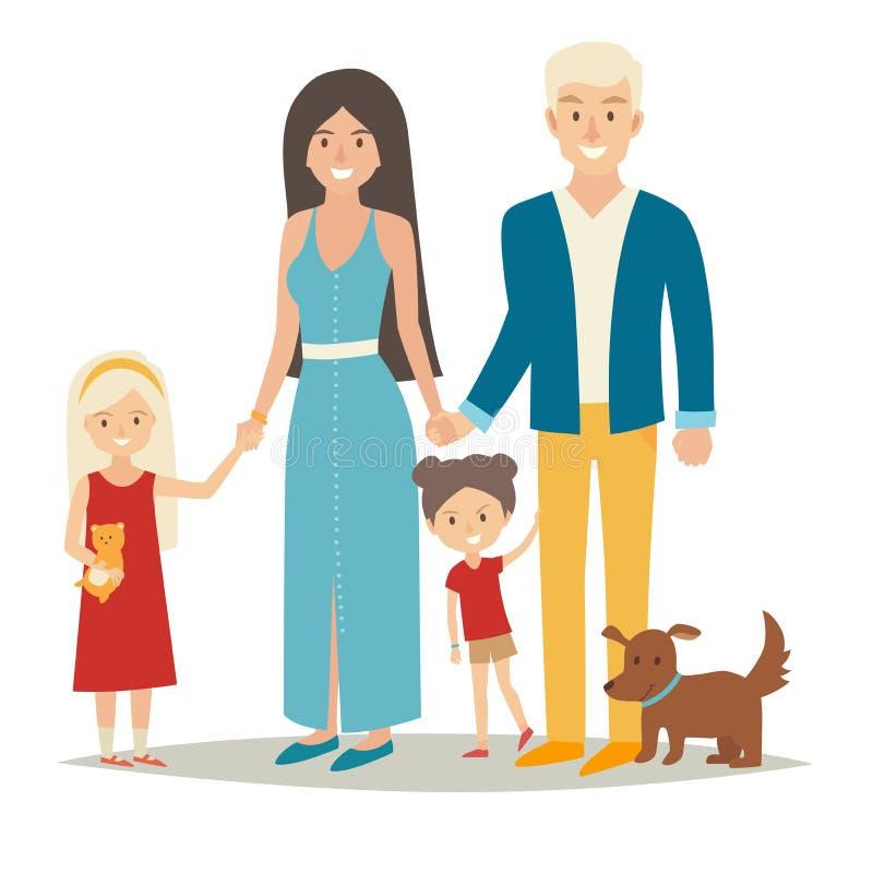 Ευτυχής οικογένεια με δύο παιδιά και σκυλί Οι άνθρωποι caracters κινούμενων σχεδίων ομαδοποιούν: μητέρα, πατέρας και αδελφές Οικο απεικόνιση αποθεμάτων