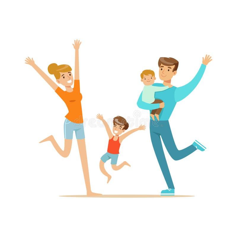Ευτυχής οικογένεια με δύο παιδιά που έχουν διανυσματική απεικόνιση χαρακτήρων διασκέδασης τη ζωηρόχρωμη ελεύθερη απεικόνιση δικαιώματος