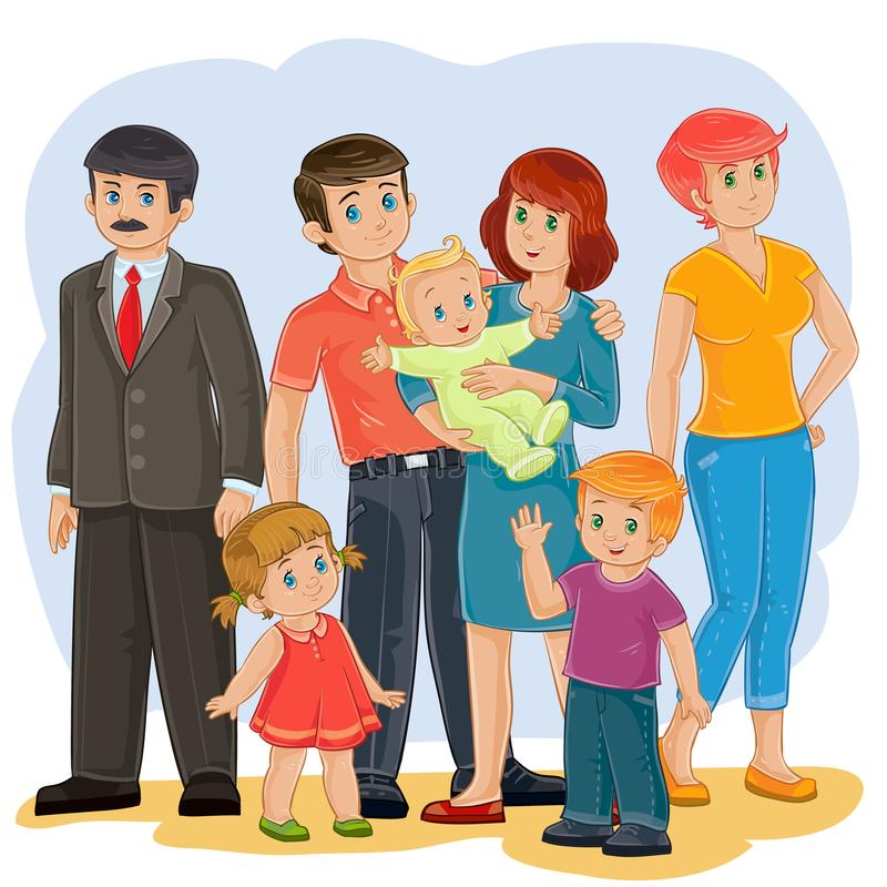 ευτυχής οικογένεια - παππούς, γιαγιά, μπαμπάς, mom, κόρη, γιος και μωρό ελεύθερη απεικόνιση δικαιώματος