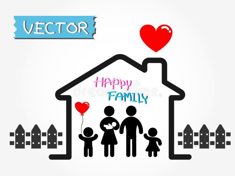 Ευτυχής οικογένεια (πατέρας, μητέρα, νήπιο, γιος, κόρη στο ευτυχές σπίτι) απεικόνιση αποθεμάτων