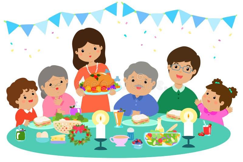 Ευτυχής οικογένεια που έχει ένα γεύμα Χριστουγέννων ελεύθερη απεικόνιση δικαιώματος