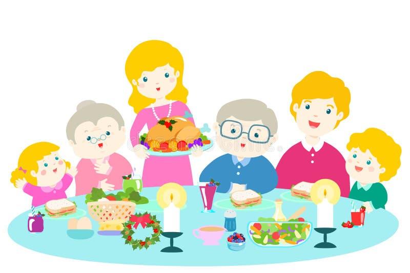 Ευτυχής οικογένεια που έχει ένα γεύμα Χριστουγέννων απεικόνιση αποθεμάτων