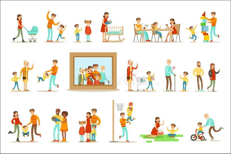 Ευτυχής οικογένεια που κάνει την απεικόνιση πραγμάτων μαζί που περιβάλλει τη μεγάλη εικόνα πορτρέτου διανυσματική απεικόνιση