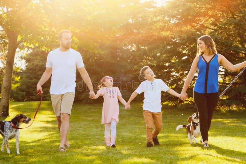 Ευτυχής οικογένεια που περπατά με τα σκυλιά και την ομιλία στοκ φωτογραφίες