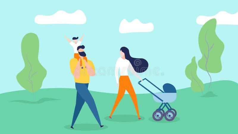Ευτυχής οικογένεια που περπατά στο υπόβαθρο θερινής φύσης διανυσματική απεικόνιση