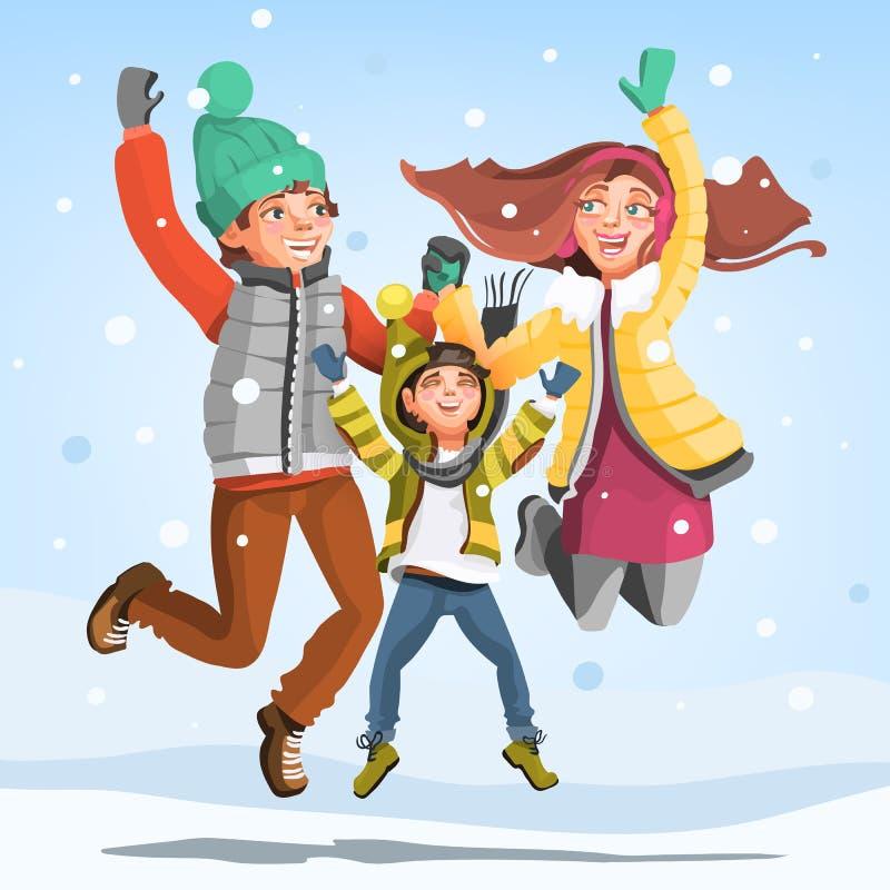 Ευτυχής οικογένεια που πηδά κάτω από το μειωμένο χιόνι στο χειμώνα ελεύθερη απεικόνιση δικαιώματος