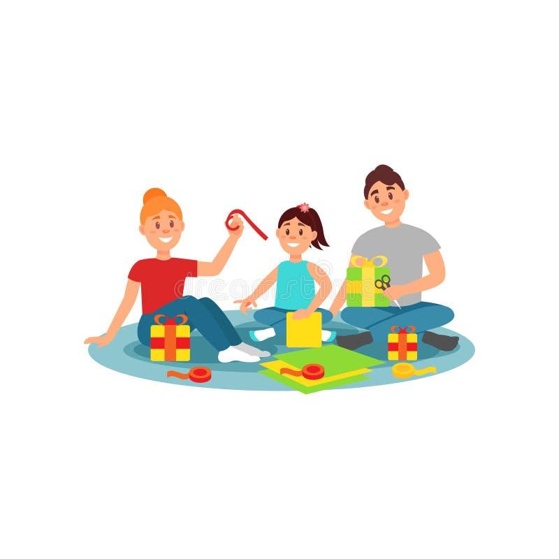 Ευτυχής οικογένεια που προετοιμάζει τα δώρα για τις διακοπές Οικογενειακή δραστηριότητα Ζωηρόχρωμο επίπεδο διανυσματικό σχέδιο ελεύθερη απεικόνιση δικαιώματος